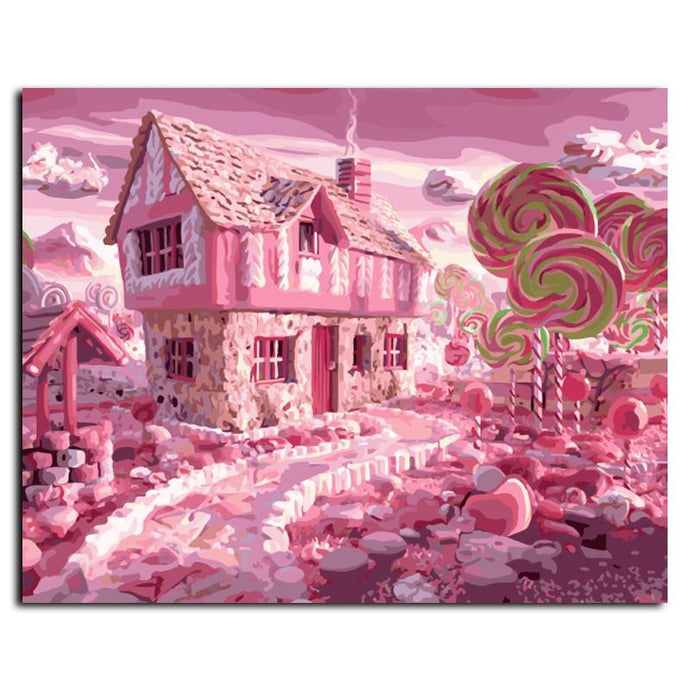 Abstract Oil Painting Candy House