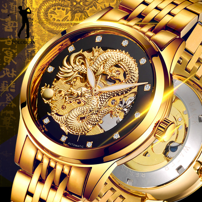 Mechanical Dragon Gold Watch