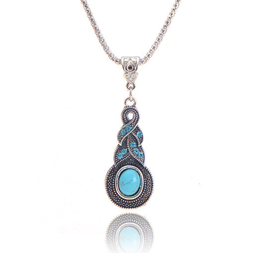 Blue Stone Infinity Pendant Necklace
