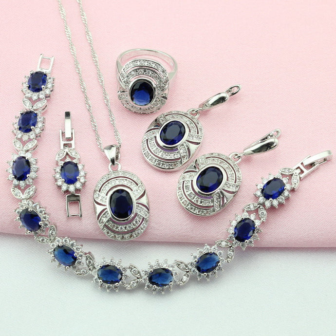 Cubic Zirconia Silver Color Jewelry Sets