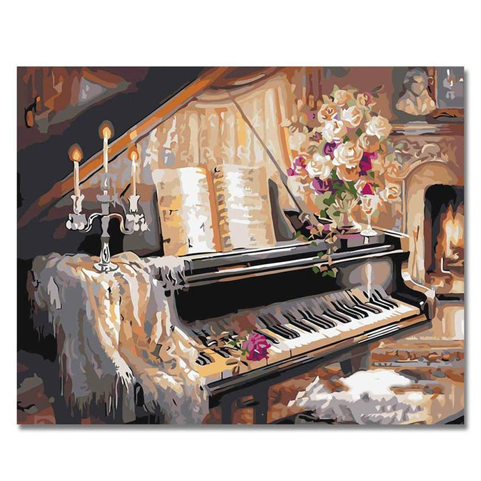 Piano And Cat Painting