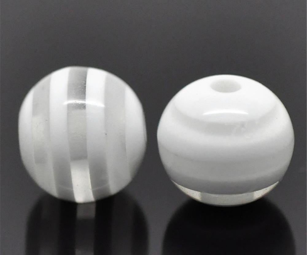 White Striped Round Spacer Beads