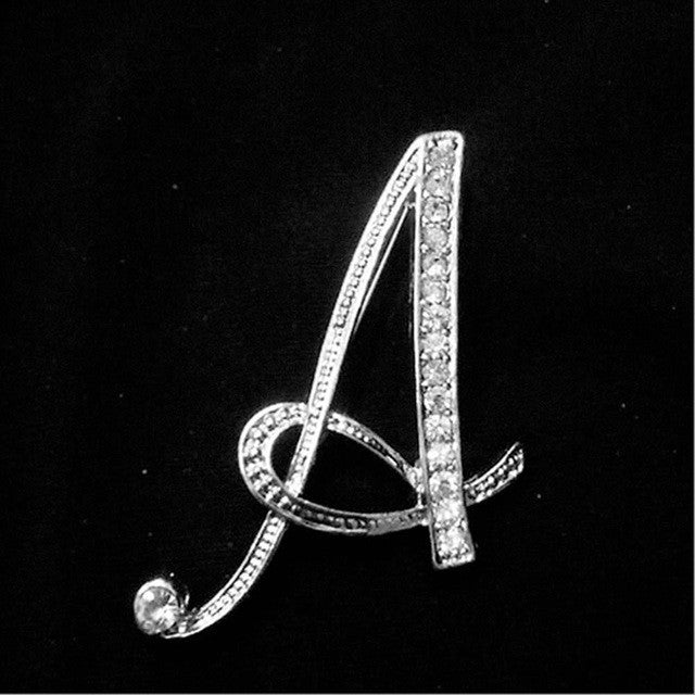 English Letter Brooches with Crystal Pins