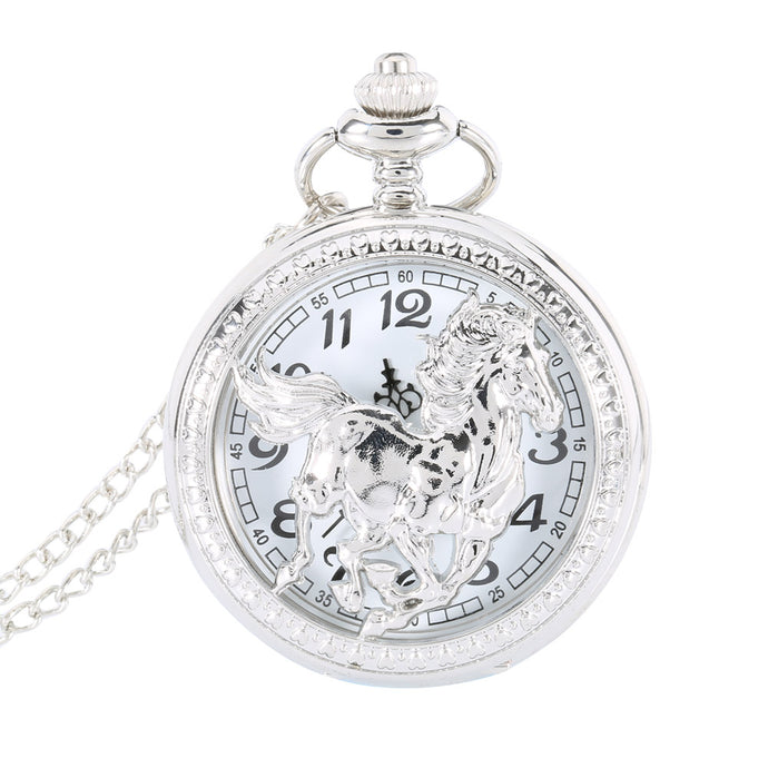 Silver Horse Flip Pocket Watch
