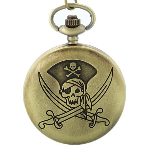 Pirate Skull Boned Pocket Watch