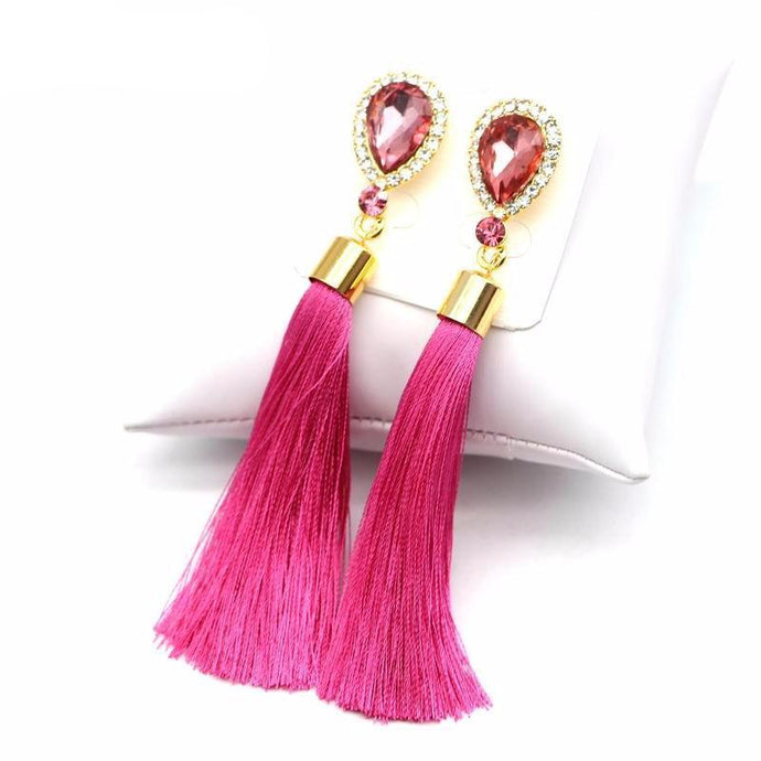 Crystal Drop Tassel Earrings