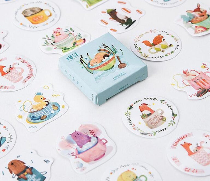 Cup Animals Decorative Stickers