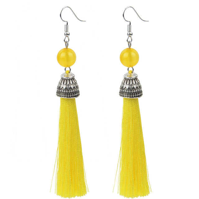 Lava Stone Tassel Drop Earrings