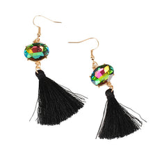 Geometric Crystal Tassel Earrings