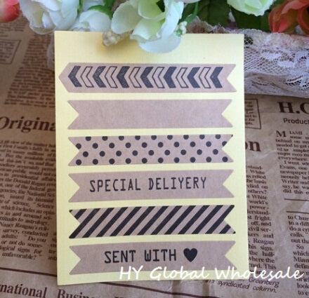 Vintage Stripe Design Kraft Sticker