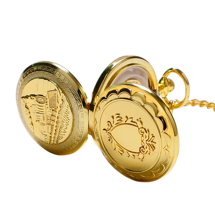 Train Locomotive Engine Pocket Watch