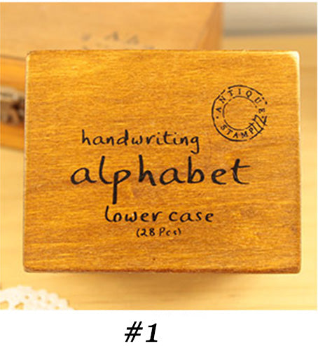 Alphabet Wooden Box Rubber Stamp