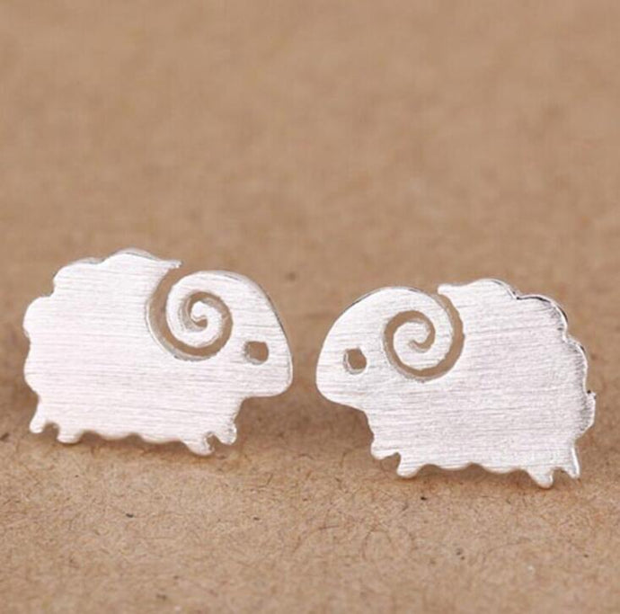 Brushed Delicate Sheep Stud Earrings