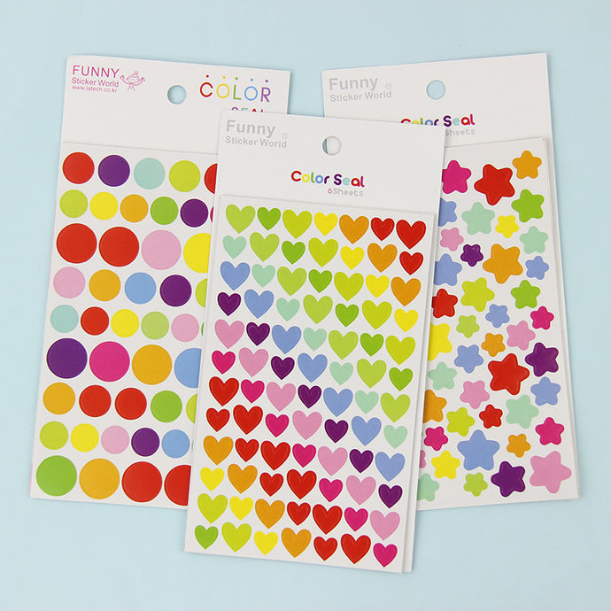 Dots Star Heart Paper Sticker