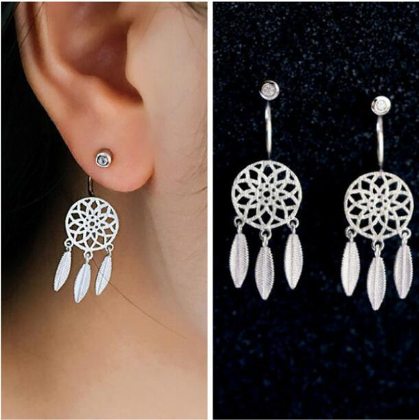 Crystal Hanging Dreamcatcher Earrings
