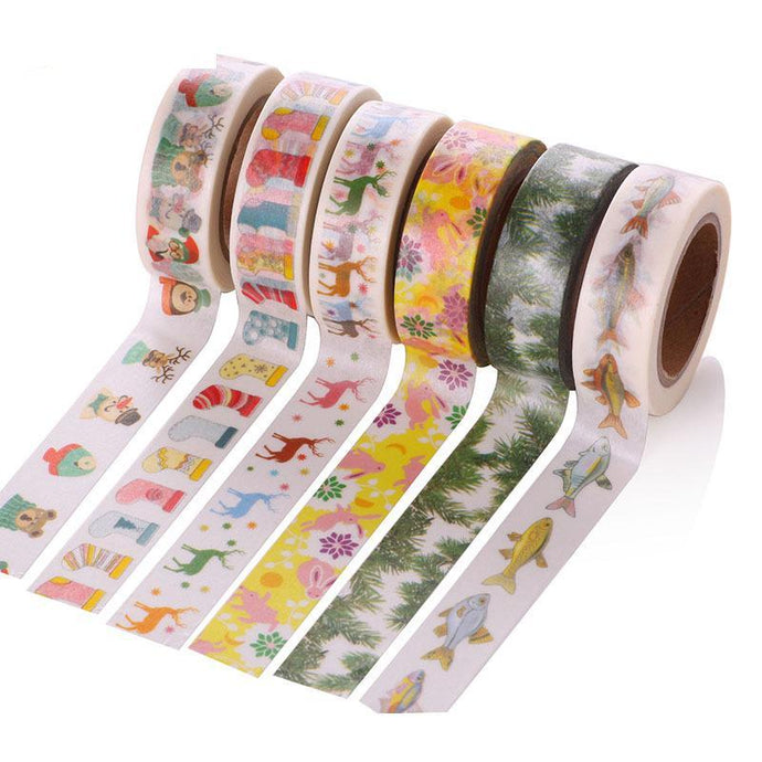Cute Flowers & Animal Pattern Masking Tape