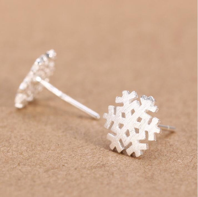 Brushed Snowflake Stud Earrings