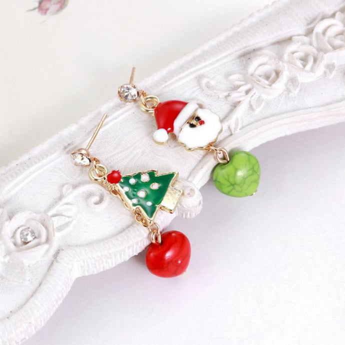 Santa Snowman Asymmetrical Earrings