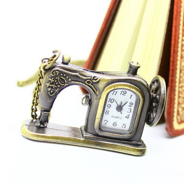 Bronze Sewing Machine Pocket Watch