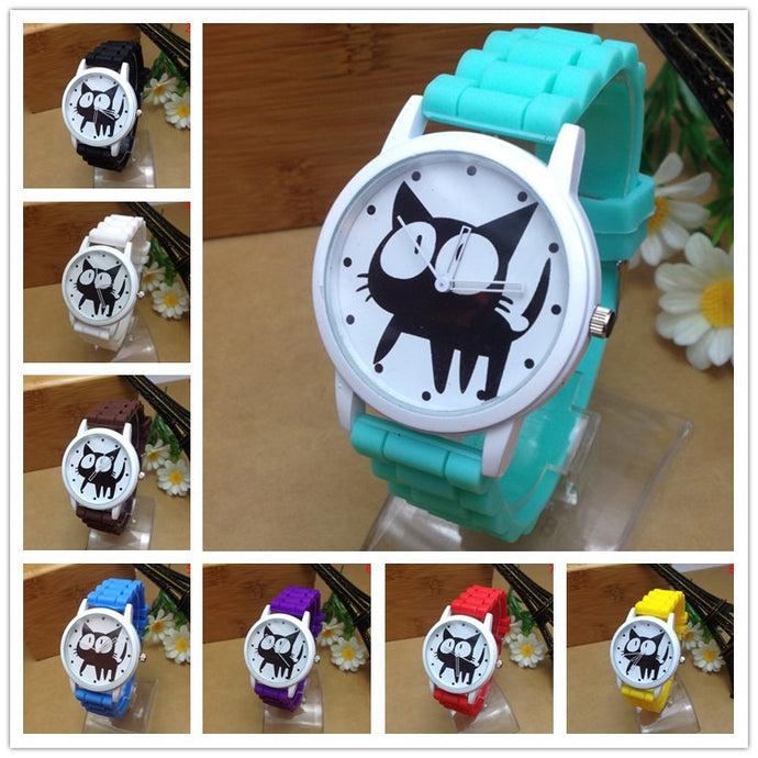 Cat Design Silicone Wristwatch