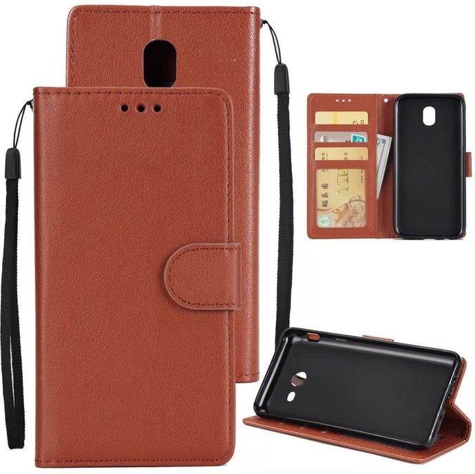 Leather Flip Wallet Case for Samsung Galaxy J7