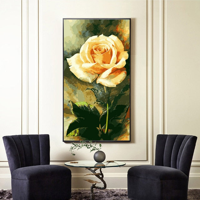 Rose Hand Painted Wall Decor