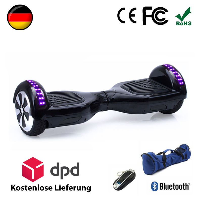 6 5 zoll bluetooth hoverboard elektroroller in schwarz hoverboardone. Black Bedroom Furniture Sets. Home Design Ideas