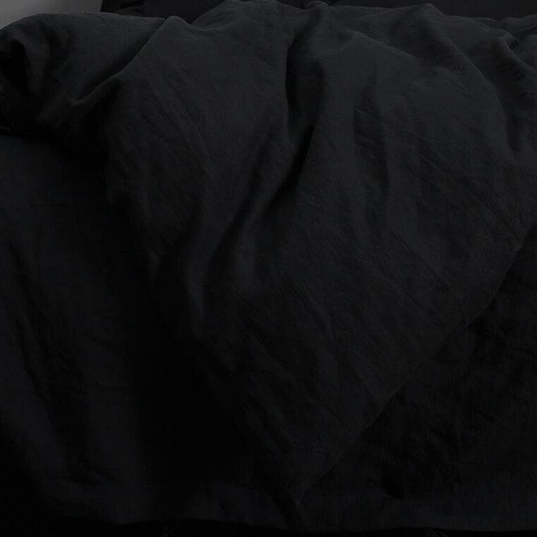 Linen Flat Sheet  | Black | Made in Europe
