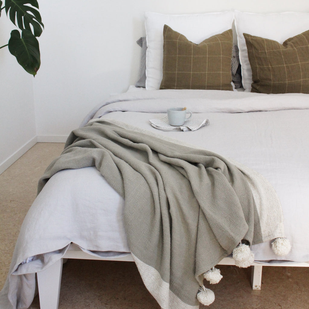 Dove Grey pure Linen Duvet cover online in NZ