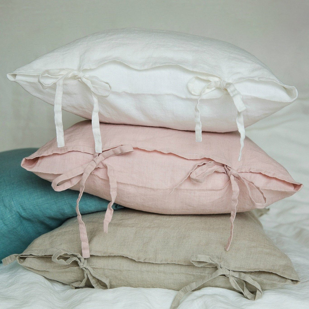 Natural Linen Pillowcases with ties online NZ