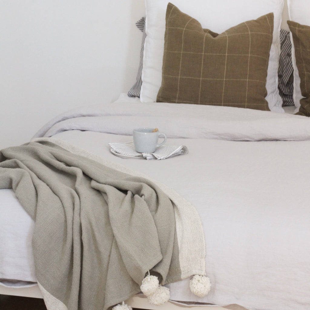 Luxury French Bed Linen in soft Grey