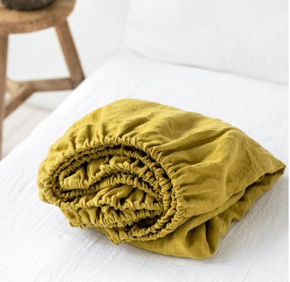 Linen Fitted Sheet | Mustard | Oeko-Tex® certified