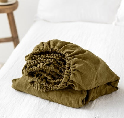 Linen Fitted Sheet | Olive | Oeko-Tex® certified | Pre Order
