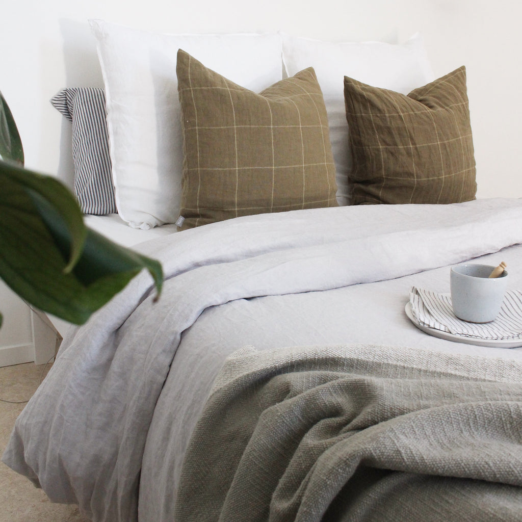 Dove Grey Linen Bedding