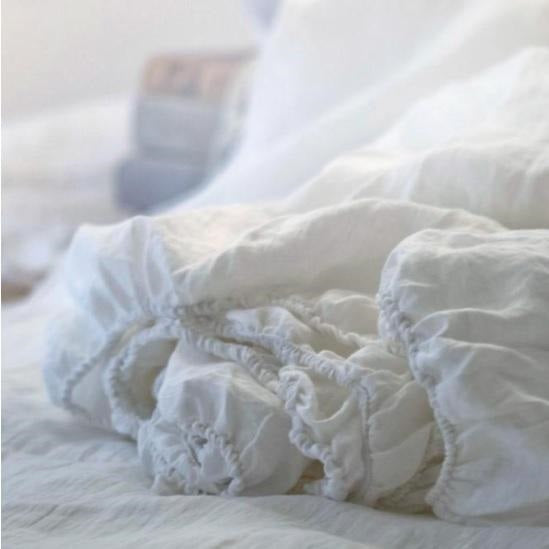 Linen Fitted Sheet | White | Made in Europe