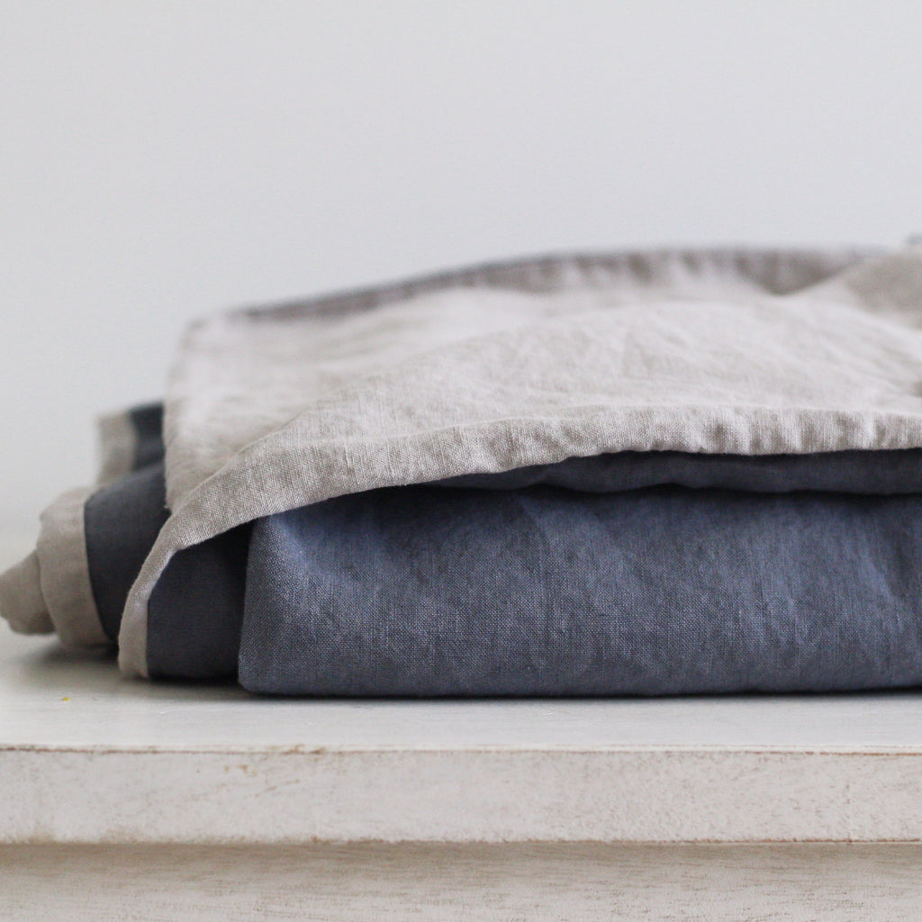 Reversible Linen Duvet Cover | Steel Blue & Soft Taupe | Made in Europe