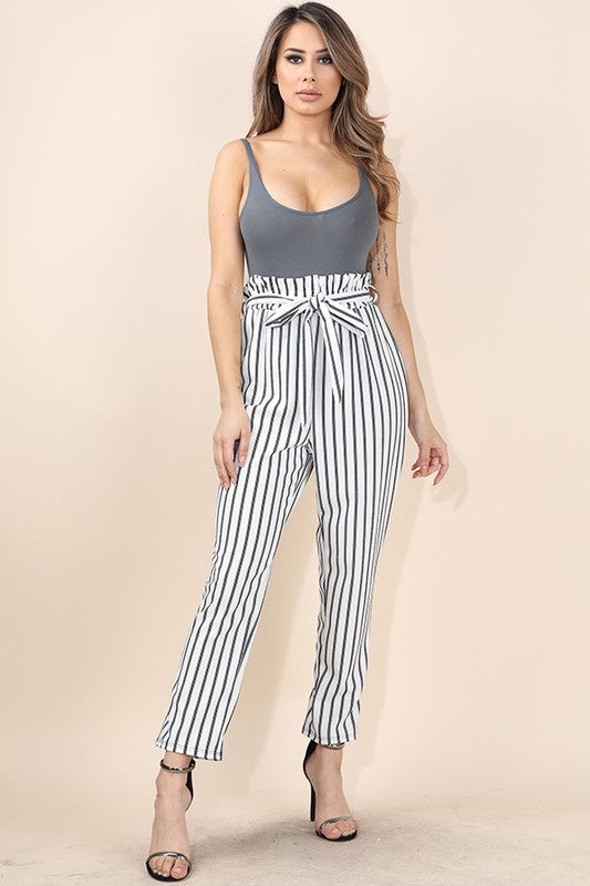 White Striped Print Paper-bag Pants
