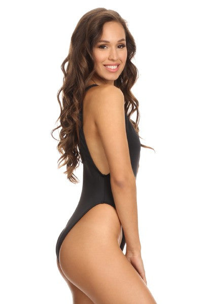 Retro Style High Cut Black One Piece Swimsuit - Boldersides