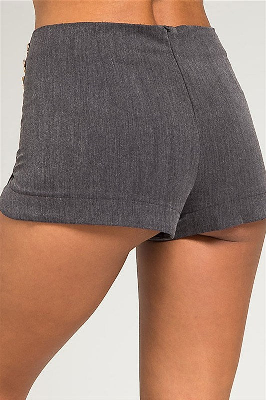 Buttons Side Grey Short Shorts