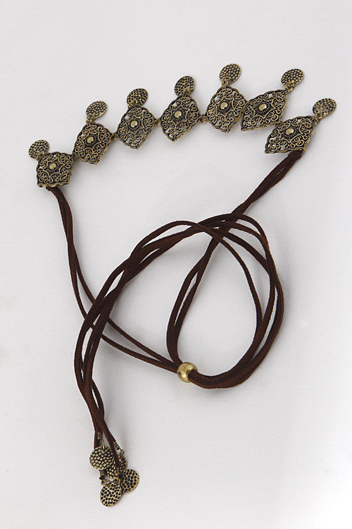 Gold Coin Dangle Medallion Linked Headband