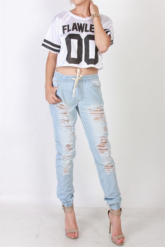 Ripped Light Wash Jean Joggers