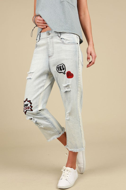 Patch Detail Distressed Boyfriend Jeans