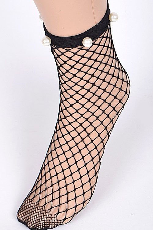 Pearl Detail Fishnet Socks
