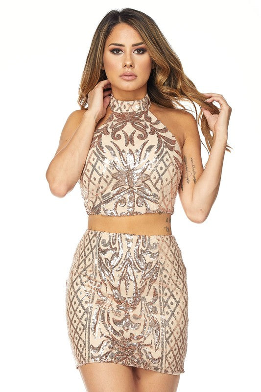Two Piece Sequin Skirt Set