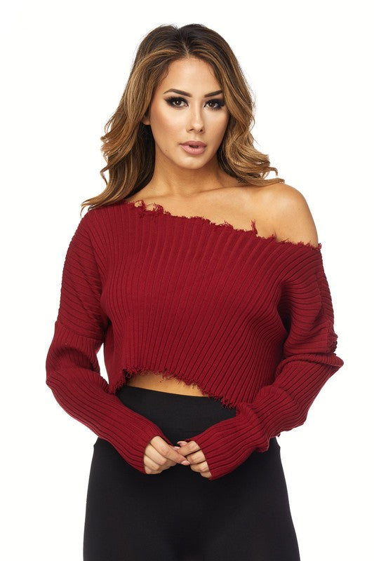 Long Sleeve Raw Edge Cropped Sweater