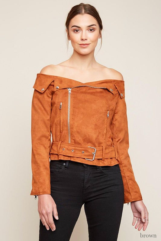 Off The Shoulder Biker Jacket