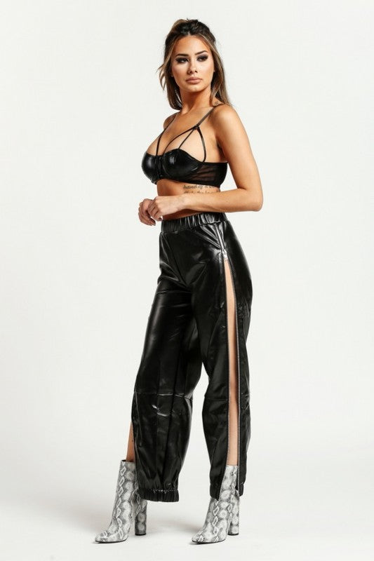 Leather Side  Zipper Jogger Pant