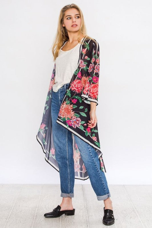 High Low Hem Printed Cardigan
