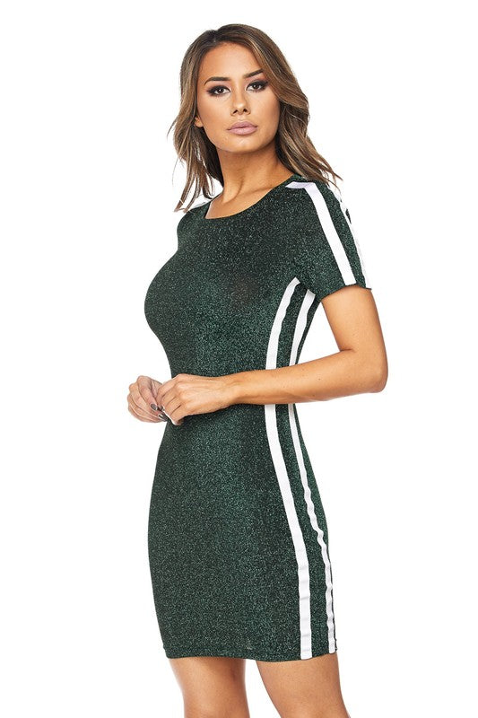 Fitted Body-con Glittery Striped Dress