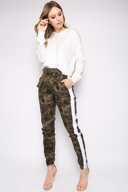 Side Striped Camo Print Pants